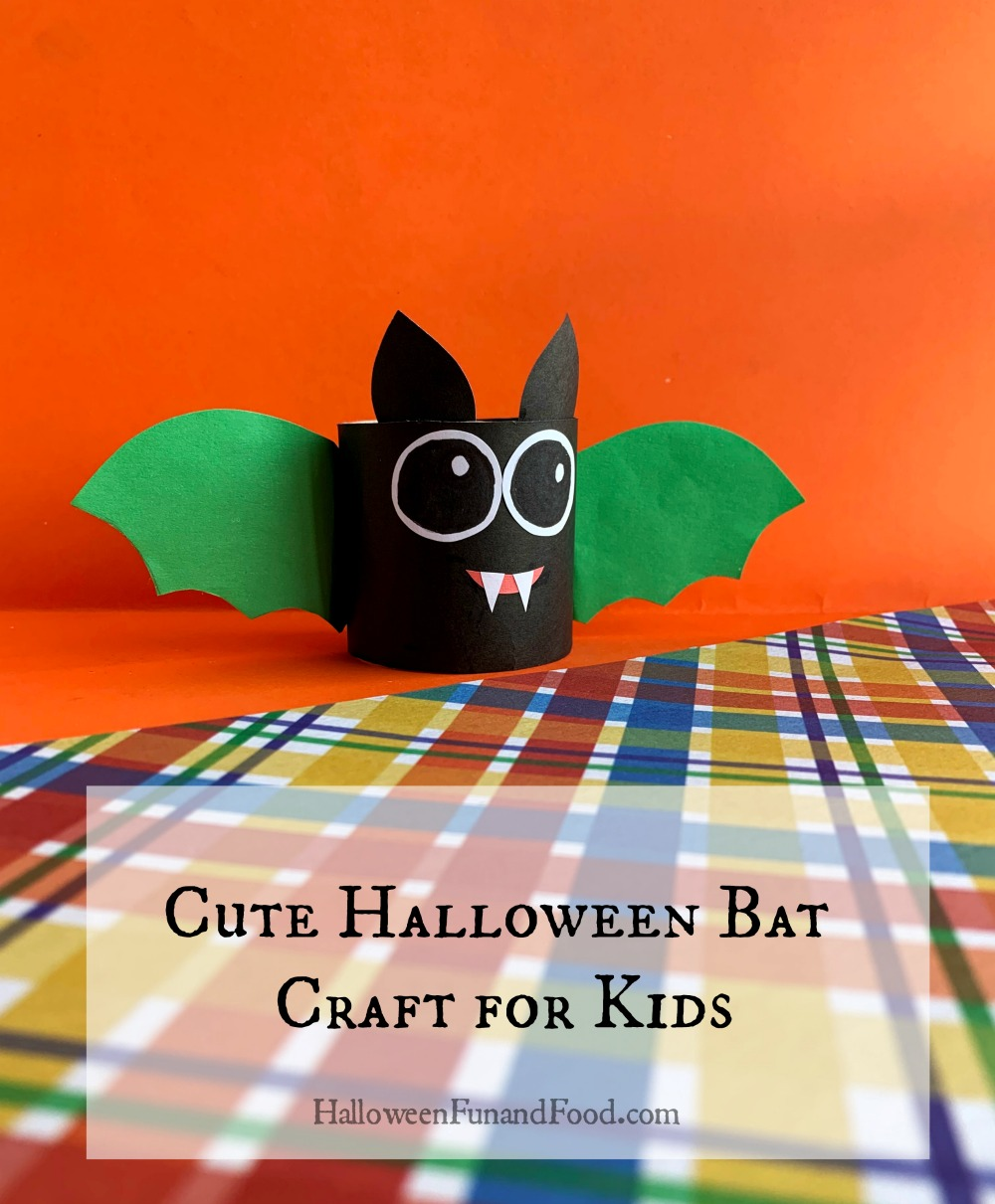 Instructions on how to make a cute Halloween bat craft for kids.