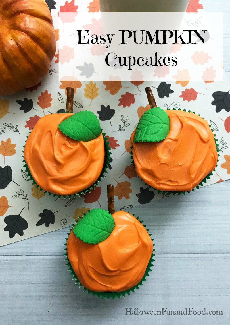 These cute cupcakes are perfect for a fall party, Thanksgiving or Halloween. Made with a boxed cake mix and decorated to look like pumpkins, they are quick and easy to make.
